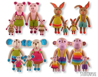 Animal crochet PATTERN deal, 4 families, pig, monkey, rabbit, bunny, elephant pdf