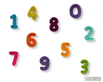 Crochet numbers pattern small applique bunting garland PDF file