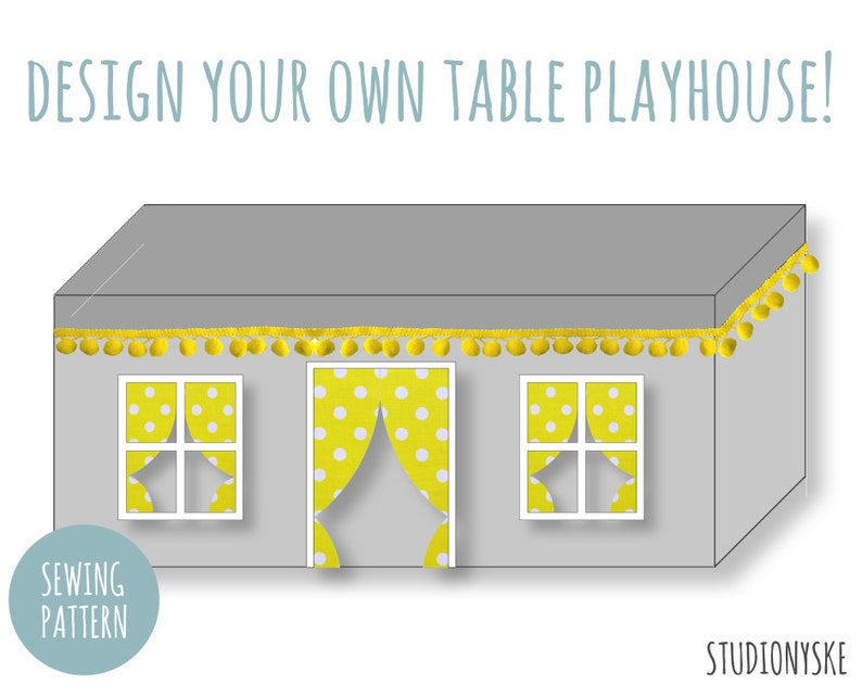 Fabric playhouse PATTERN design your own table tent for boys image 0
