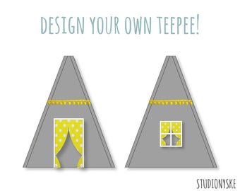 Teepee tent sewing PATTERN design your own wigwam play tent for boys and girls PDF DIY