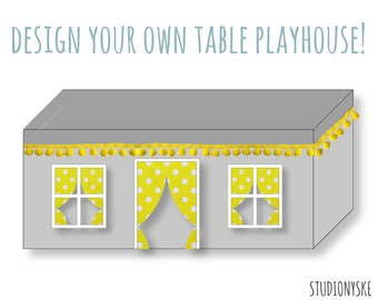 Fabric playhouse PATTERN design your own table tent for boys and girls PDF DIY