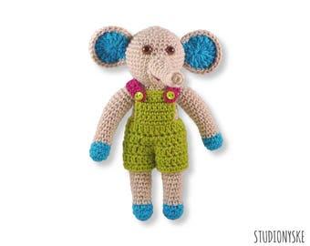Baby shower gift boy, amigurumi elephant PATTERN, softie dungarees pdf