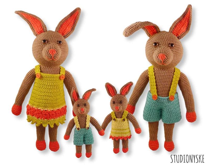 Crochet PATTERN doll Rabbit Bunny 'FAMILY' amigurumi image 0