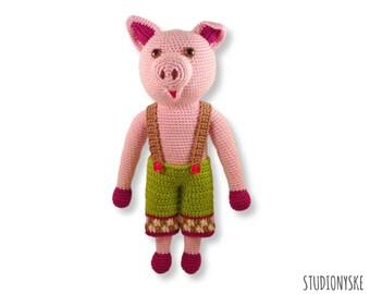 Animal toy PATTERN Pig DAD, amigurumi pants, DIY crochet doll pdf