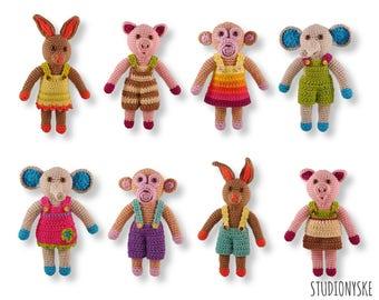 Crochet gift PATTERN, 8 small animals, amigurumi elephant, monkey, pig, rabbit, bunny pdf