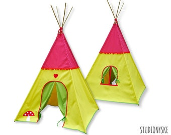 Kids teepee tent PATTERN wigwam mushroom playhouse indoor outdoor PDF