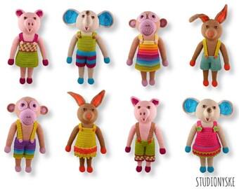 Birthday present child,  8 large amigurumi animals, crochet PATTERN pdf elephant, monkey, pig, bunny, rabbit
