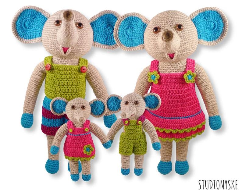 Crochet animal doll PATTERN elephant FAMILY tutorial stuffed image 0