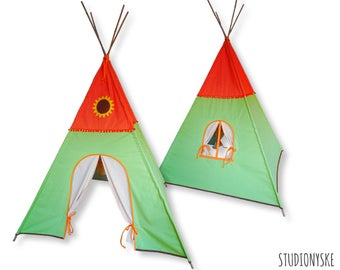 Teepee PATTERN sunflower kids play tent with door window curtains instant download PDF