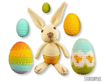 Easter rabbit PATTERN, cozy egg warmer, stuffed eggs crochet spring inspiration