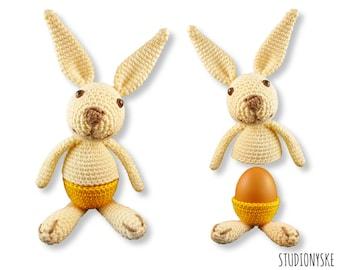 Easter bunny crochet PATTERN, amigurumi egg warmer LARGE, funny rabbit