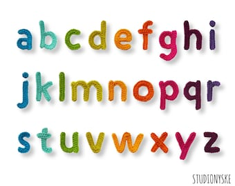 Crochet letters pattern lowercase applique bunting garland PDF file