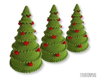 Christmas crochet PATTERN, amigurumi tree with balls, X-mas ornament decoration