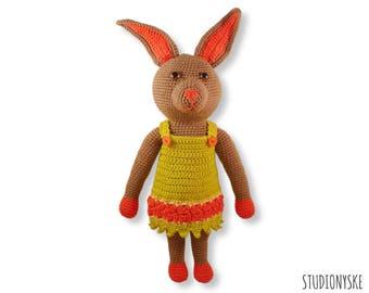 Crochet rabbit PATTERN, amigurumi doll bunny MOM, DIY animal pdf