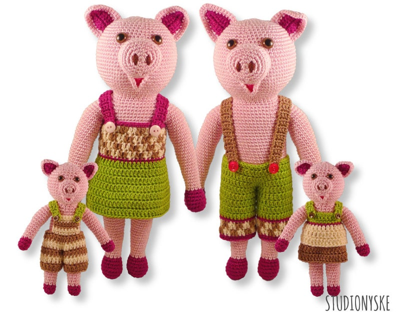 Crochet toy amigurumi pig PATTERN FAMILY stuffed animal pdf image 0