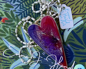 One of a kind resin heart on 80cm chain with Free regular shipping