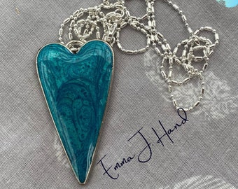 unique teal coloured resin heart on 80cm chain with Free regular shipping