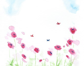 Poppy Field Painting, Original Watercolor Landscape Painting, Watercolor Poppy Painting, Watercolor Flower Art, Small Original Art A5