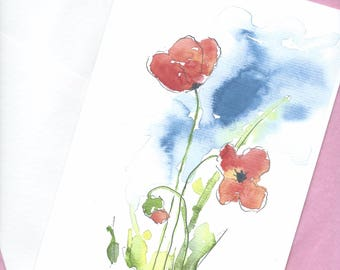 Watercolor Poppy Card Blank Greeting Floral Valentines Birthday Art Note Flower