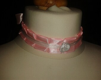 Handmade Cute Kawaii Lolita Pink Ribbon Choker With Rose