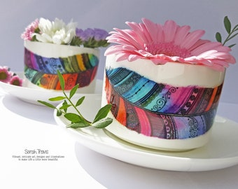 Watercolour Rainbow Feather Cup and Saucer Set - Limited Edition