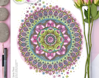 Butterfly Mandala in Spring Colours Print