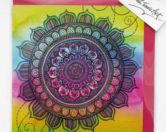Tie Dye Mandala Greetings Card