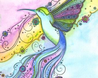Gorgeous Little Hummingbird Watercolour Print