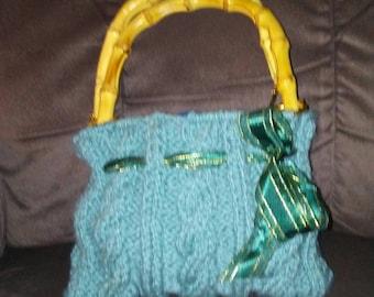 Cable knit purse with bambo handles lined,blue, handbag, womens handbag