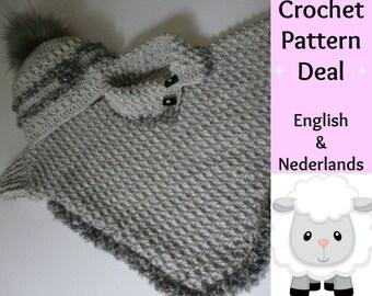 Engels Nederlands Haakpatroon Baby Peuter Poncho Met Col Etsy