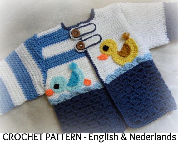 Engels Nederlands Haakpatroon Baby Vest Mama Eend 0 18 Etsy