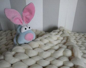 Super Chunky Arm Knitted  Merino Wool Blanket, Throw Blanket