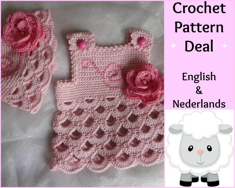 Dutch Crochet Patterns Baby Set  Pink Rose Beanie 0-18 months 2 English Dress
