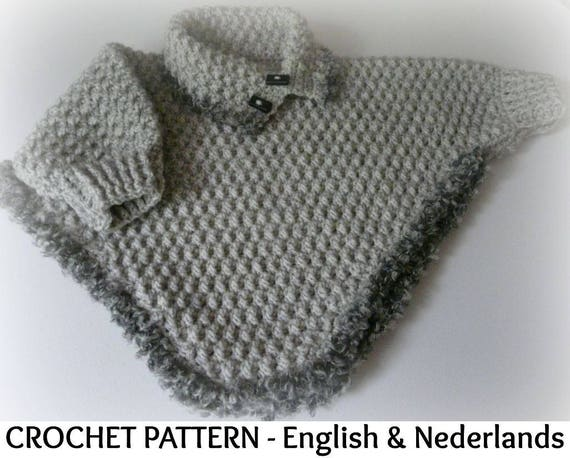 English Dutch Crochet Pattern Baby Toddler Poncho With Etsy