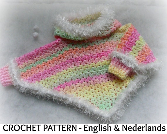 English Dutch Crochet Pattern Baby Hooded Poncho With Cuffs Etsy