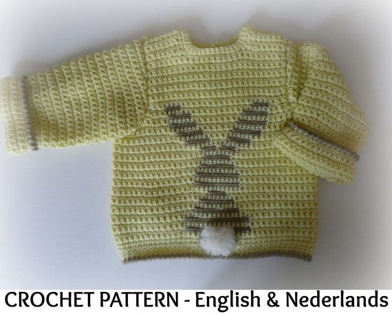 Engels Nederlands Haakpatroon Baby Peuter Trui Little Etsy