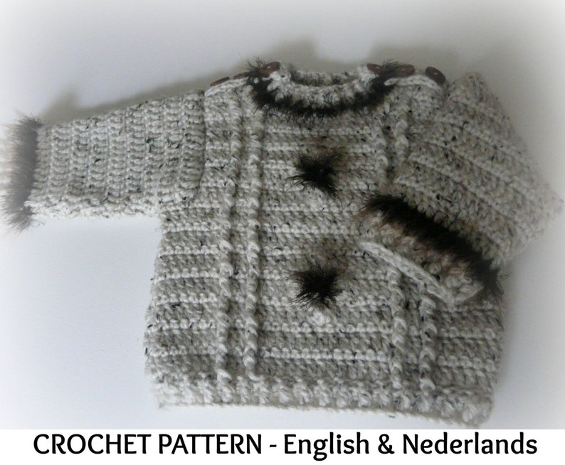 f70d0d5b26f63 English Dutch Crochet Pattern Winter Baby Coat Sweater Tweed