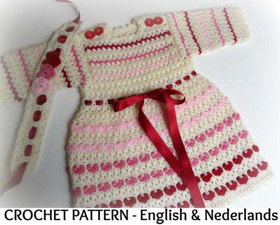 Engels Nederlands Haakpatroon Baby Jurkje Met Lange Mouwen Etsy