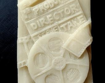 CINEMA THEME MOLD soap bar mould 5,5oz   resin plaster chocolate wax icing cinema tape projector screen movie camera