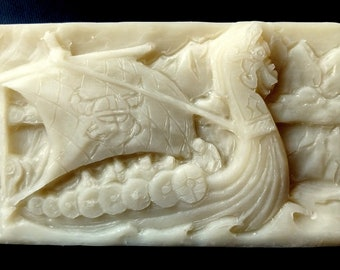 VIKINGS SILICONE MOLD soap bar mould 5,5oz   resin plaster chocolate wax icing viking drakkar boat