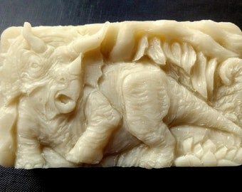 DINOSAUR SILICONE MOLD soap bar mould 5,5oz   resin plaster chocolate wax icing monster dino triceratops