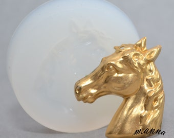 Horse flexible pendant jewelry mold for use with resin polymer clays pmc craft mold cabochon mold plaster 914 - jewelry mold