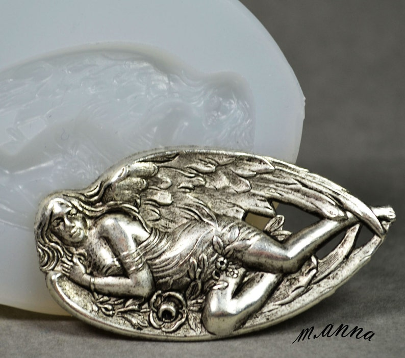 polymer clay GODDES SILIOCNE MOLD angel wings food use plaster moud chocolate icing resin