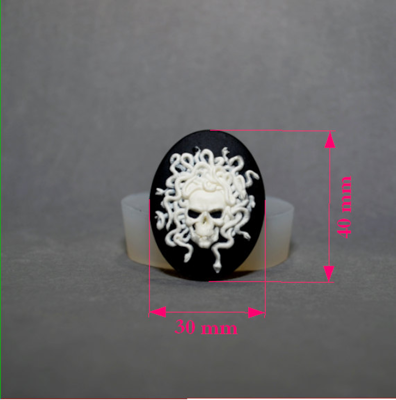 MEDUSA SILICONE MOLD skull sugar craft resin fimo polymer clay mould soap fimo wax plaster icing chocolate food grade utee