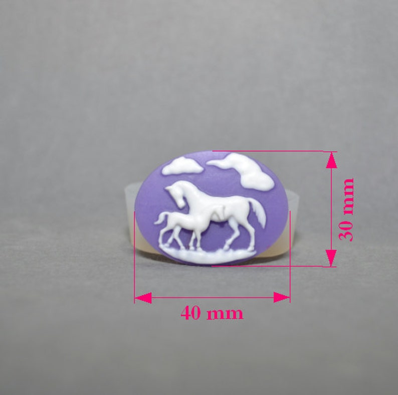 HORSES SILICONE MOLD cameo horse sugarcraft polymer clay fimo resin wax plaster mould chocolate