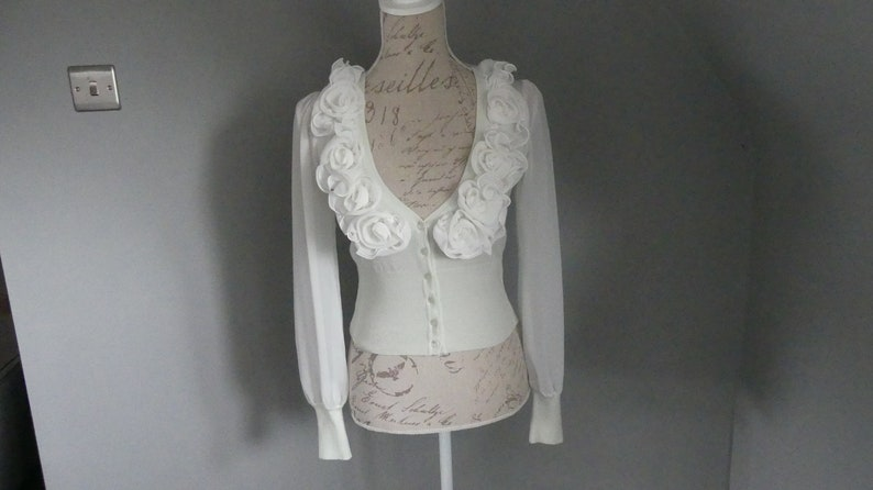 Vintage very light mint green cardigan with white rose flower detail and sheer sleeves