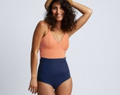Women One piece swimsuit peach and navy