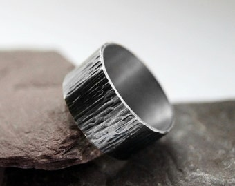 Recycled Sterling Silver Wood Grain Wide Ring ~ statement, unisex, men's ring, oxidised, hammered, tree bark