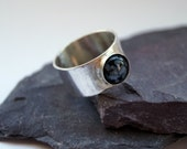 Snowflake Obsidian Wide Sterling Silver Ring unisex, men 39 s ring, women 39 s ring, gemstone, statement ring, recycled