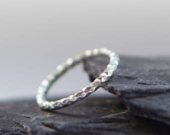 Diamond Cut Sterling Silver Band ~ stacking ring, statement texture, stackable, silver ring, modern ring, silver band, sparkly, diamond cut